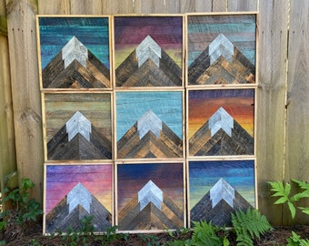 "12"" Mini Mountain Series - Reclaimed Wood Mosaic - Wall Art"
