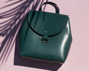Handcrafted Satchel Bag Green Italian leather