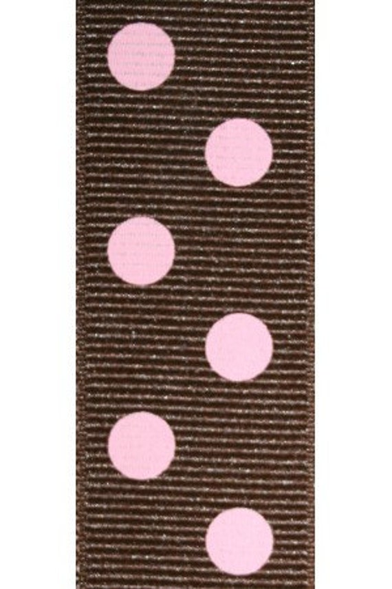 Brown and Pink Aspirin Dot Printed Grosgrain (12 ## APD 063)