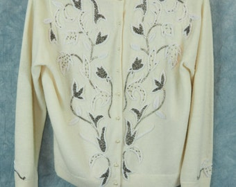 Free Shipping This is a gorgeous 1950's sweater! Vintage Crème colored button women's cardigan Tea sweater