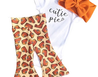 Thanksgiving Baby Bells Set, Fall Baby Girl Bell Bottoms and Bow Outfit, Pumpkin Pie Baby Bummies Bow and Bodysuit, Cutie Pie Baby Outfit