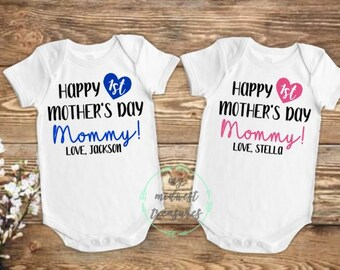 d629261da First Mothers Day Bodysuit | Mothers Day Personalized Gift | Baby Boy  Outfit | Baby Girl Outfit | Happy Mothers Day Mommy