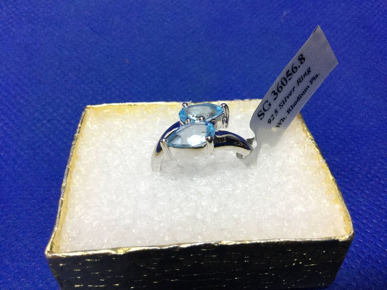 Blue Topaz Ring,jewelry,925 sterling silver,Rings,Natural Gemstone,Gift for her,Ring for woman,wedding Ring,engagement Ring,Multistone Rings