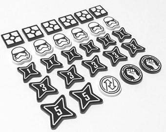 Star Wars Destiny Compatible Black White Token Set Acrylic Plastic