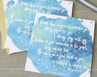 """Set of 3 Mini Cards, Christian Encouragement Cards """"I thank God everytime I remember you"""", Bible Verse Thank You Cards"""