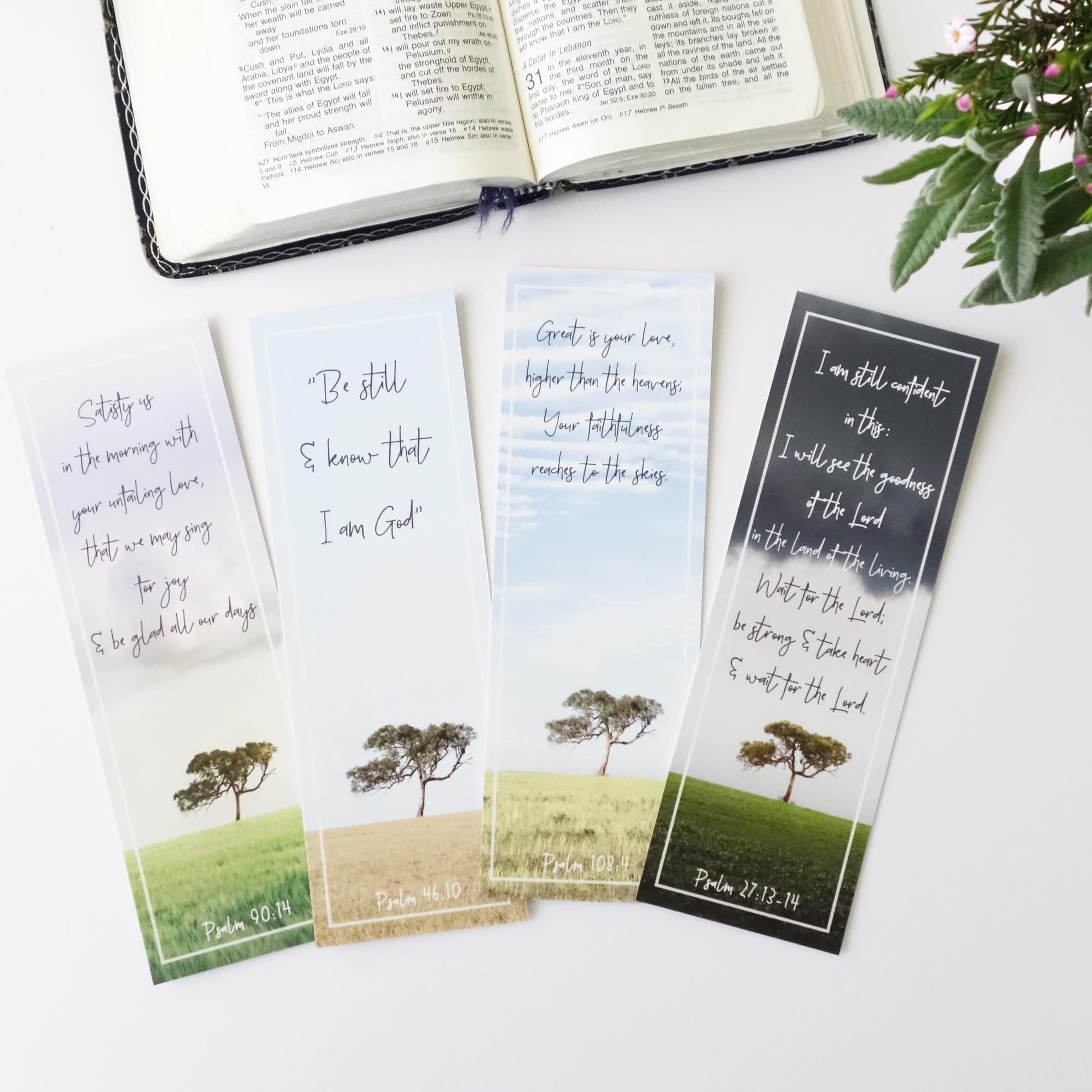 4x Scripture Bookmarks Balliang Tree Set - Psalm Cards - Season Change  Bible Verse Bookmarks