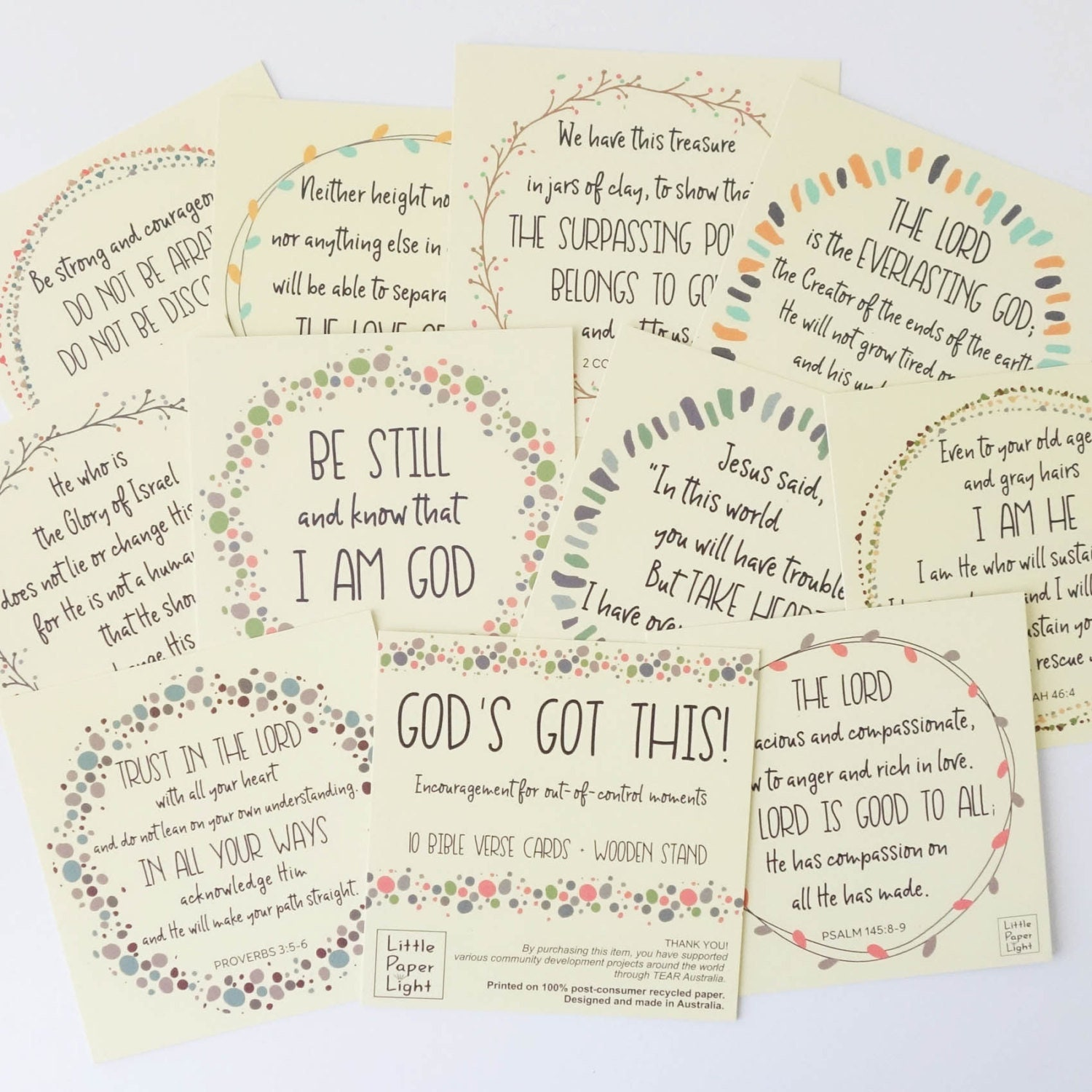 GOD'S GOT THIS Bible Verse Cards Pack + Bamboo Stand, Scripture Card,  Christmas Gift, Christian Quote Card, Vision Board