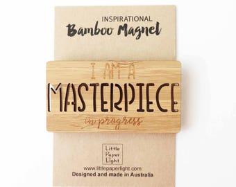 Bamboo Fridge Magnets - Masterpiece - Words Wooden Magnet - Creatives Gift - Christian Gift - Baptism Gift Fridge Magnets