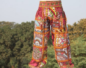 African boho colorful pants and trousers/ stretchy boho style baggy pants / very light weight/ block print harem / Boho Pyjamas for Her/Him