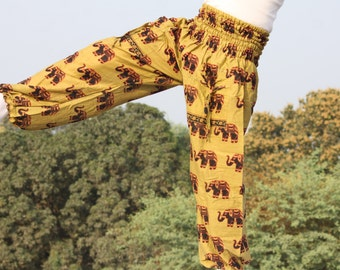 Elephant Print Harem pant in combed cotton with 2 front pockets comfortable and trendy in indian elephant print