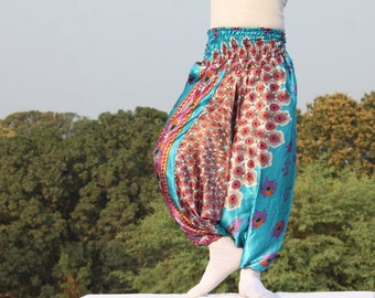 Trendy Silk harem pants on peacock feather print /  Very soft & light weight trousers