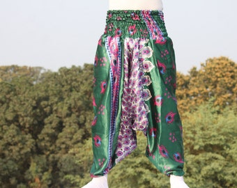 Womens funky harem pants Indian peacock print , Very soft cloth and stretchy on vibrant colors / baggy alladin trousers / free size pants