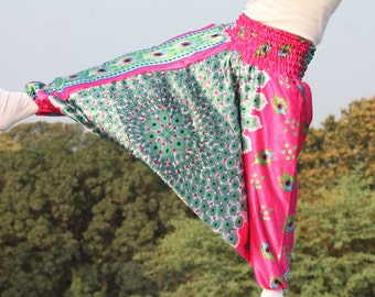 Pink Harem pants in peacock print , pure satin, organic Clothing, Loose Pants, Indian Pants,  free shipping