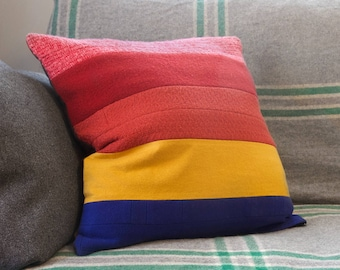 "ROWANA Colorblock Rainbow Cushion Cover – 20"" Large Size Cushion, Upcycled Wool Vintage Fabric, Retro Inspired, Mid-Century Mod Throw Pillow"