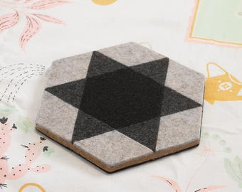 MOD ILLUSION Felt/Cork Trivet – REVERSIBLE Geometric Hex Tile Pattern, Tabletop Teapot Hot Pad, Small Kitchen Gift, Modern Minimalist Design