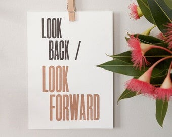 Letterpress Postcard Mini Print – Look Forward – Wall Art, Hopes & Dreams, Creative Process, Motivational Art, Typography Print