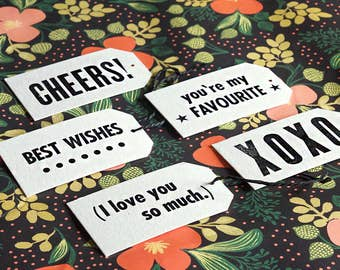 Letterpress Gift Tags – Set of 5 Plus 1m Black Twine – Weddings, Birthdays, Graduations, Special Occasions, Handmade Gift Tags, Cheers XOXO