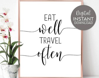 Travel quotes / Gifts for travelers / Travel quote art / Kitchen posters / Travel sayings /  DIGITAL FILE DOWNLOAD