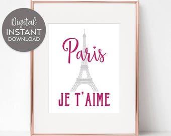 Paris decor bedroom / Apartment decor / France print / Home artVParis apartment / Eiffel tower print / DIGITAL DOWNLOAD