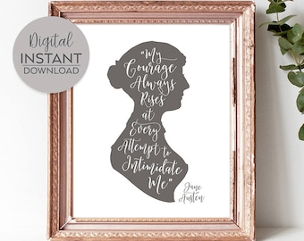Large bookish poster / Jane Austen art / Pride and Prejudice famous quotes / Teen feminist / Jane Austen wall art / DIGITAL FILE DOWNLOAD