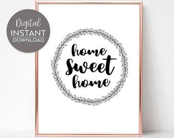 Home decor / Wall prints / New home gifts / Home wall decor / Home Sweet Home printable / DIGITAL FILE DOWNLOAD