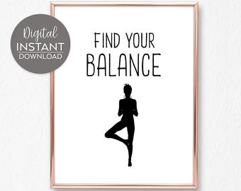 Find your balance / Yoga quotes on life / Yoga poster / Yoga ...
