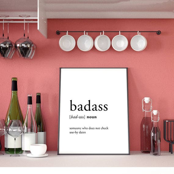 Funny Definition Badass Kitchen Humor Funny Wall Quotes Etsy