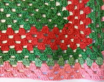 Vintage square doily , Easter colors square doily, red, pink , green antique doily, cottage chic ,shabby chic, farmhouse decor, retro