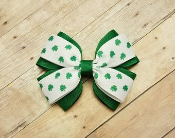 St. Patrick's Day Bow, St. Patrick's Day, Layered Bow, Shamrock Bow, Hair Bow, St. Patrick's Day Hair Bow