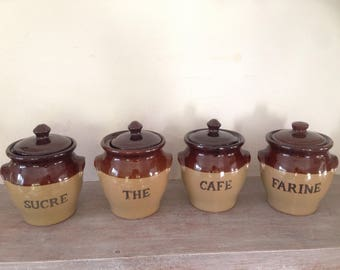 Ingredients jars / kitchen terracotta spice jars, French ceramic