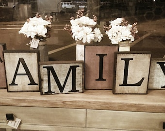 Wood Signs, Family Signs, Rustic Home Decor, Block Letters,Mantel Decor,  Farmhouse Decor, Personalized Gifts, Motheru0027s Day, Wedding, Kids