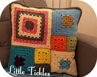 Crochet Pillow / cushion cover / colorful bright colors/ Mother's day Gift/ Granny squares / Grandmother's gift + Free Wall Hanging / Decor