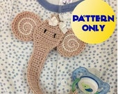 crocheted patterns, PDF pattern, Crochet pattern Elephant Pacifier Holder, Binky Clip pattern, Pacifier Clip, Paci Clip, elephant gift