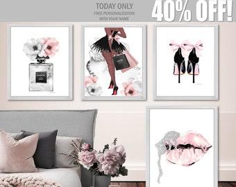 8138b36b536e Fashion Art Set Fashion Wall Art Digital Download Fashion Prints Fashion  Illustration African American Gray Blush Pink Silver Perfume Lips