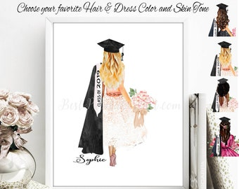 2f905283c4 Graduation Print Grad Student College Graduate Class of 2019 Fashion Art  Diploma Degree Keepsake Best Friend Daughter BFF Gift for her Girls