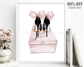 fb3eb1df454 Blush Pink High Heels Shoe Box Fashion Illustration Wall Art Watercolor  Designer Shoes Print Printable Download Artwork Painting Decor Gift