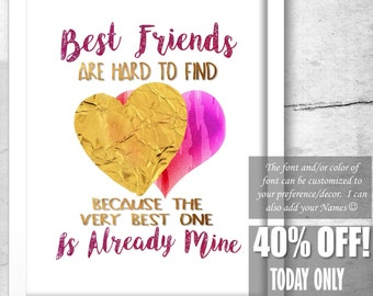 Best Friend Print Best Friend Gift Ideas Best Friend Quotes Etsy