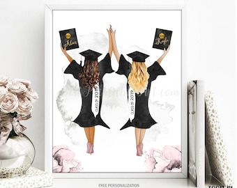 269b5120af Graduation Print Gift for her Fashion Illustration Art Best Friend Daughter  BFF Best Friend Girlfriend Class of 2019 Grad Student College