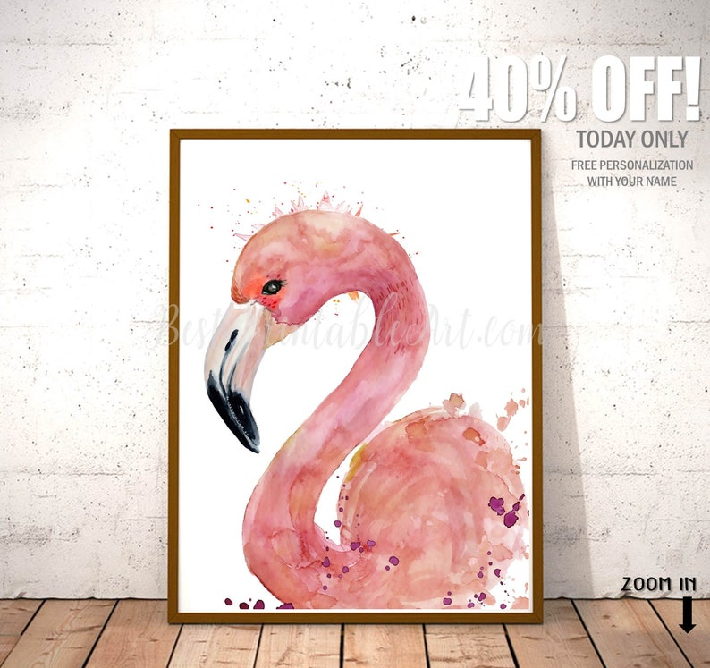 52403f3a549 Pink Flamingo Watercolor Wall Art Print Feminine Wall Art