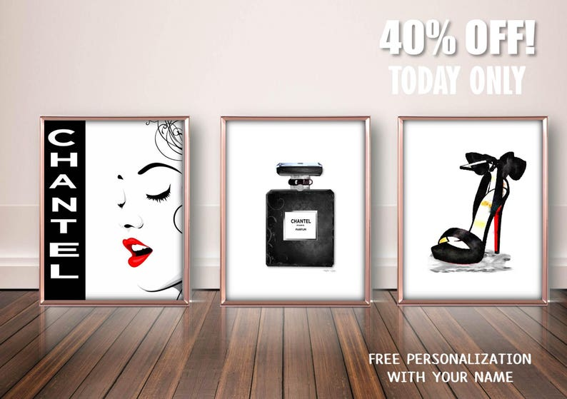 f6c8026d65a1a Personalized Fashion Art Print, High Heels Art Print, Parfum Bottle Art  Print, Fashion Illustration, Fashion Bedroom Art, Black White Print