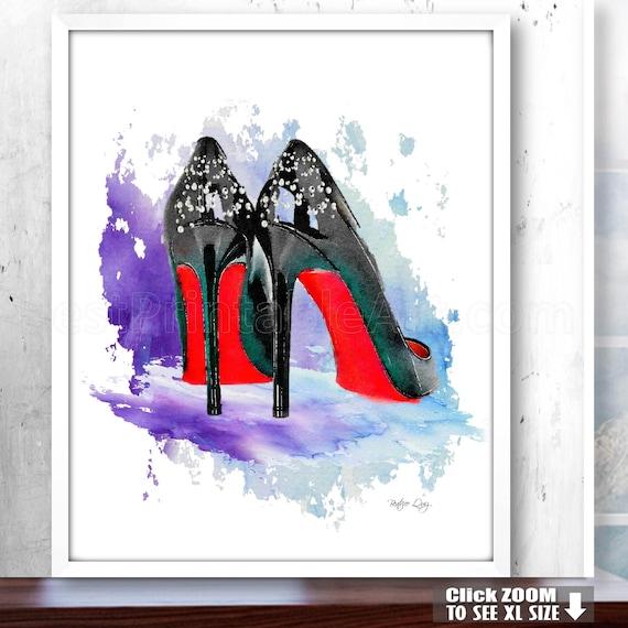0e2fe05ae3d90 Bedroom Poster, Fashion Artwork, High Heels Wall Art Print Decor,  Watercolor Fashion Art, Fashion Illustration, Fashion Poster,High Heel Art
