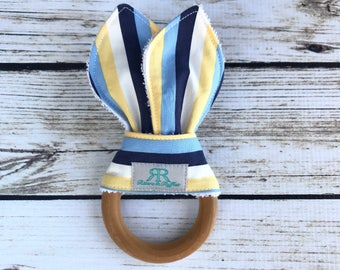 Navy and Yellow Striped Organic Maple Wood Teether | Nautical Teething Toy | Nautical Teether | Baby Gift | Baby Shower Gift | Organic Baby