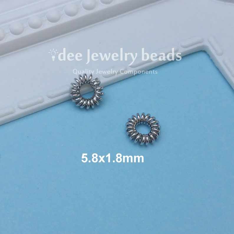 Solid 925 Sterling Silver with Rhodium Plated for Anti Tarnish 5.8mm silver Coiled Wire Spacer F360