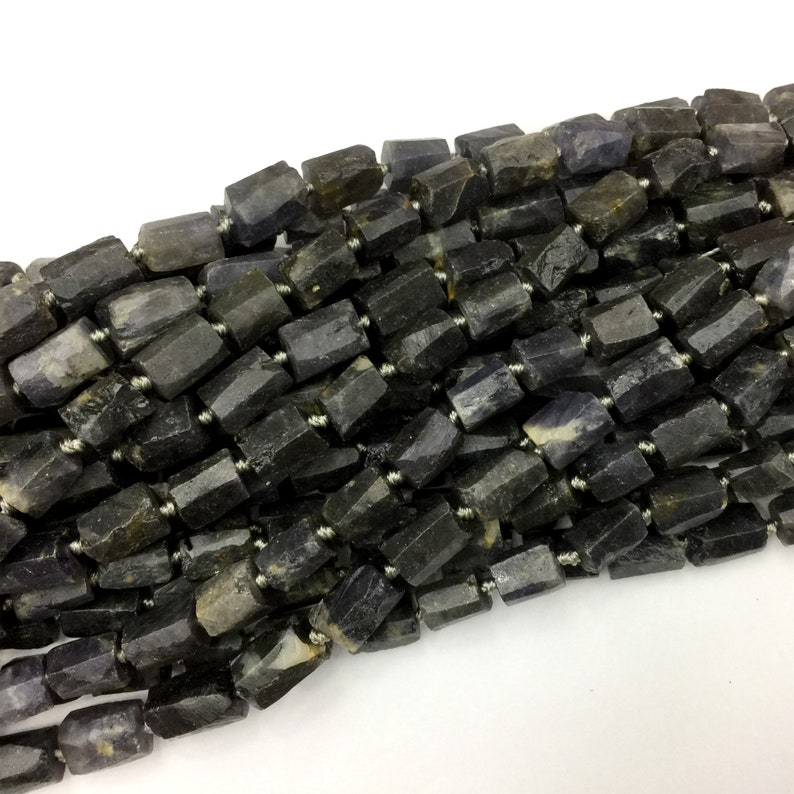 Natural Genuine Raw Mineral Black Gray Iolite Nugget Free Form Loose Rough Matte Faceted Necklace Bracelet Jewelry Beads