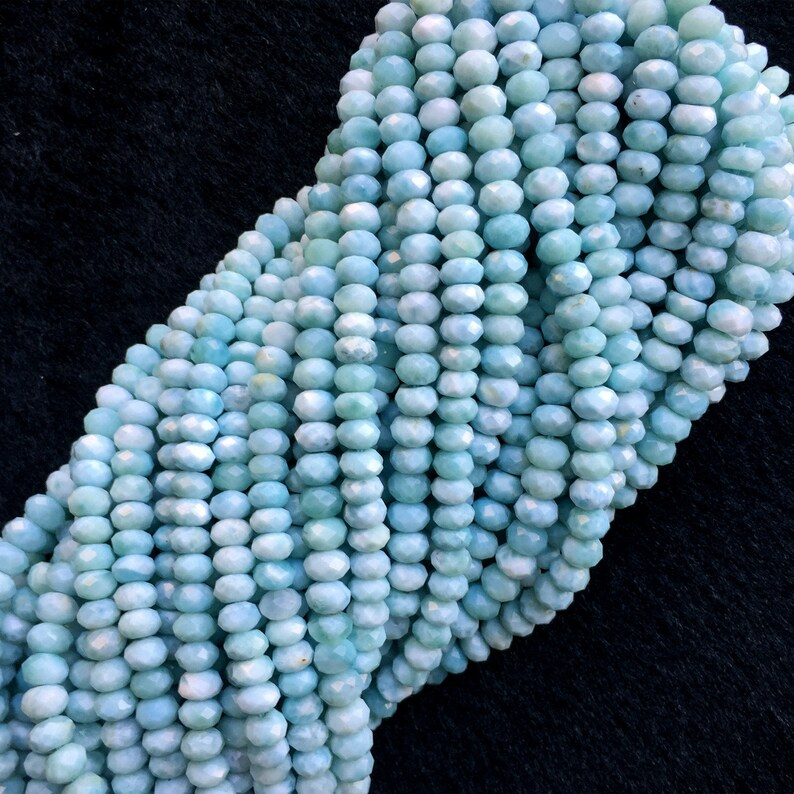 AAA High Quality Natural Genuine Dominican Blue Larimar Hand Cut Loose Gemstone Faceted Rondelle Beads  16