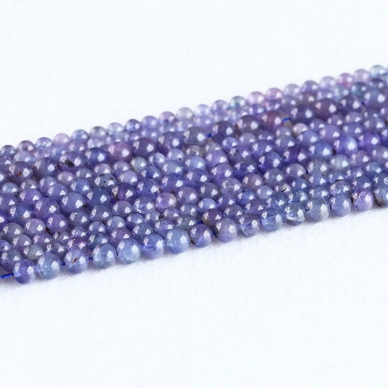 Natural Genuine Tanzania Dark Purple Blue Tanzanite Semi-precious stones Round Loose Small Beads 4mm 5mm 6mm 8mm 05307