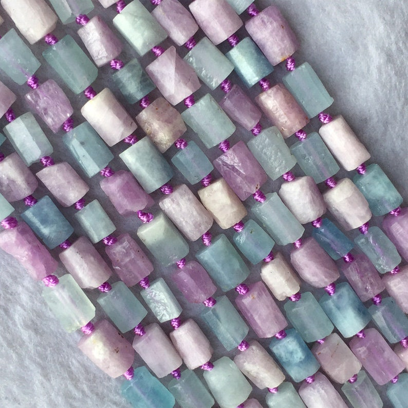 Natural Genuine Raw Mineral Madagascar Blue Aquamarine Purple Kunzite Nugget Free Form Loose Rough Matte Faceted Beads 6-8mm 05725