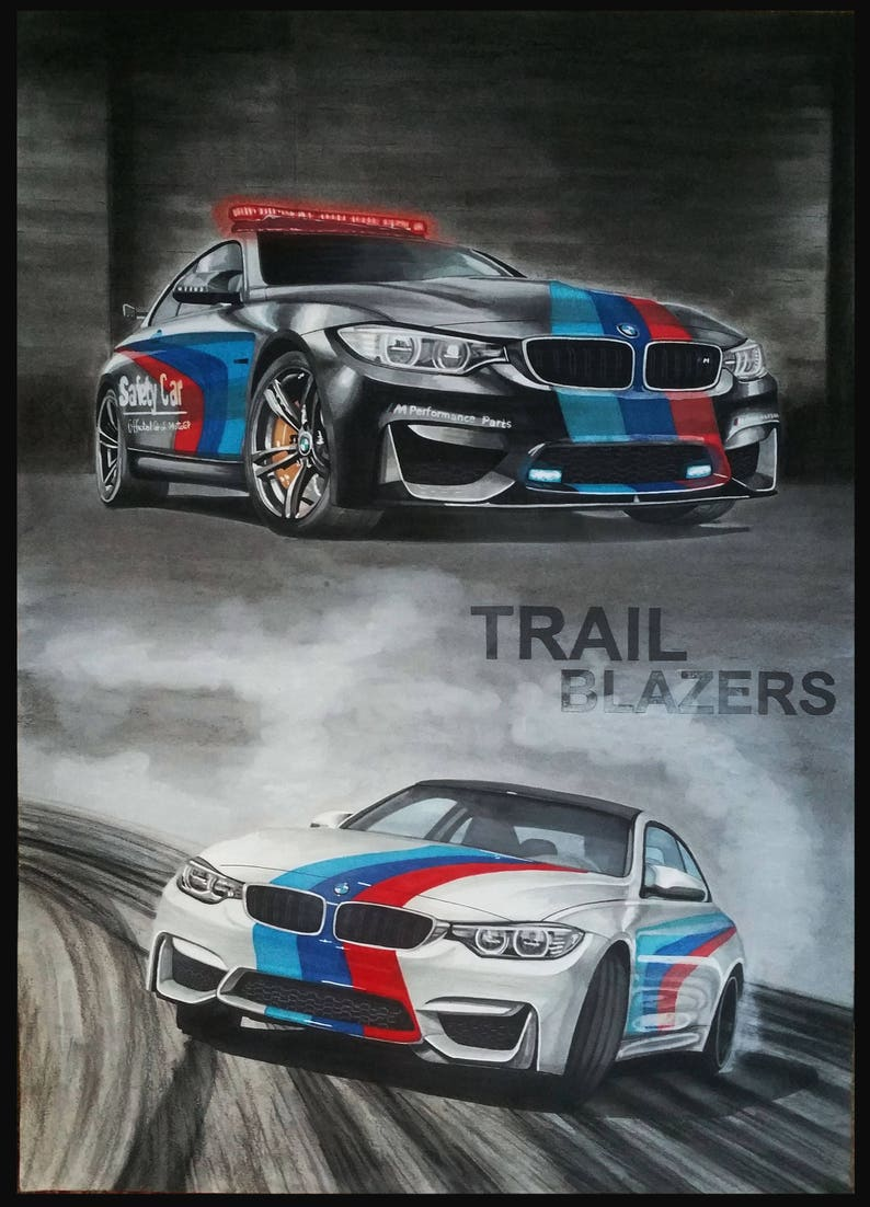 Bmw M4 Automotive Car Drawing Painting Realistic Poster Etsy