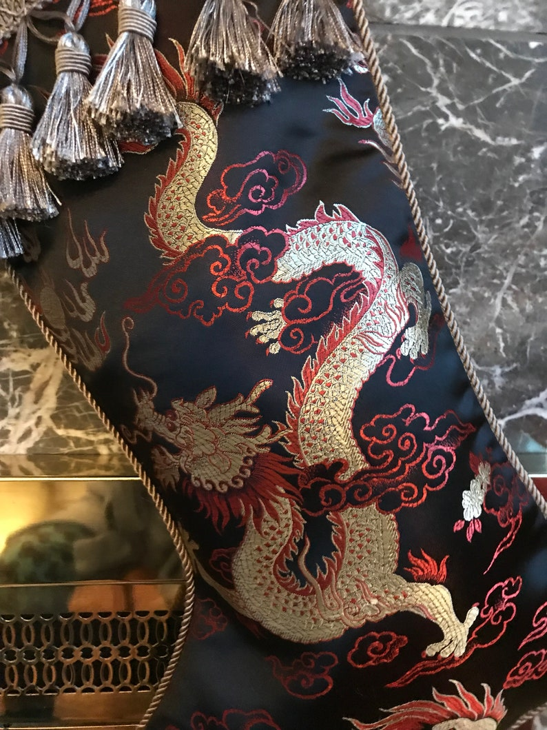 The Black Satin Dragon Christmas Stocking