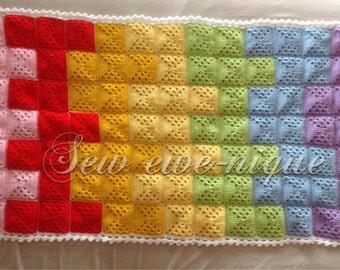 Pixel rainbow blanket PDF pattern